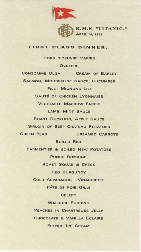 First Class Dinner Menu The Titanic One Century Later