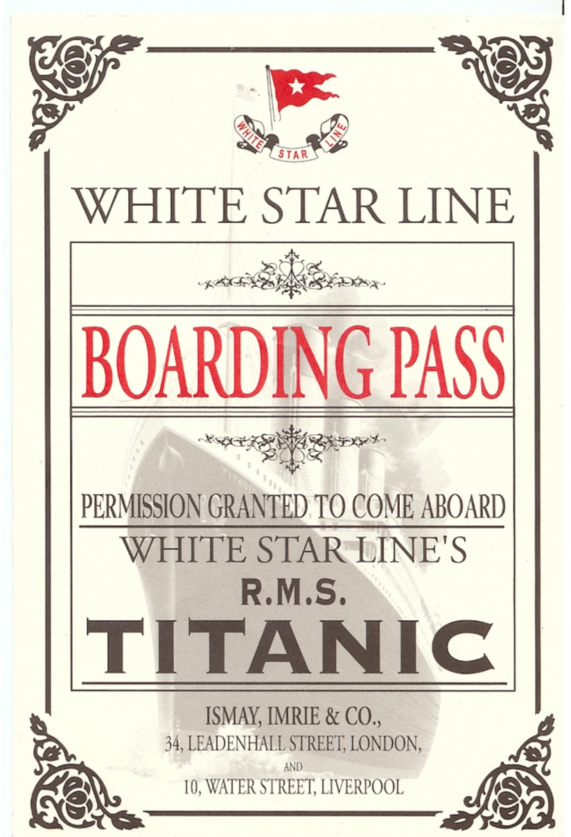 Titanic boarding pass the titanic one century later advertisements pronofoot35fo Images