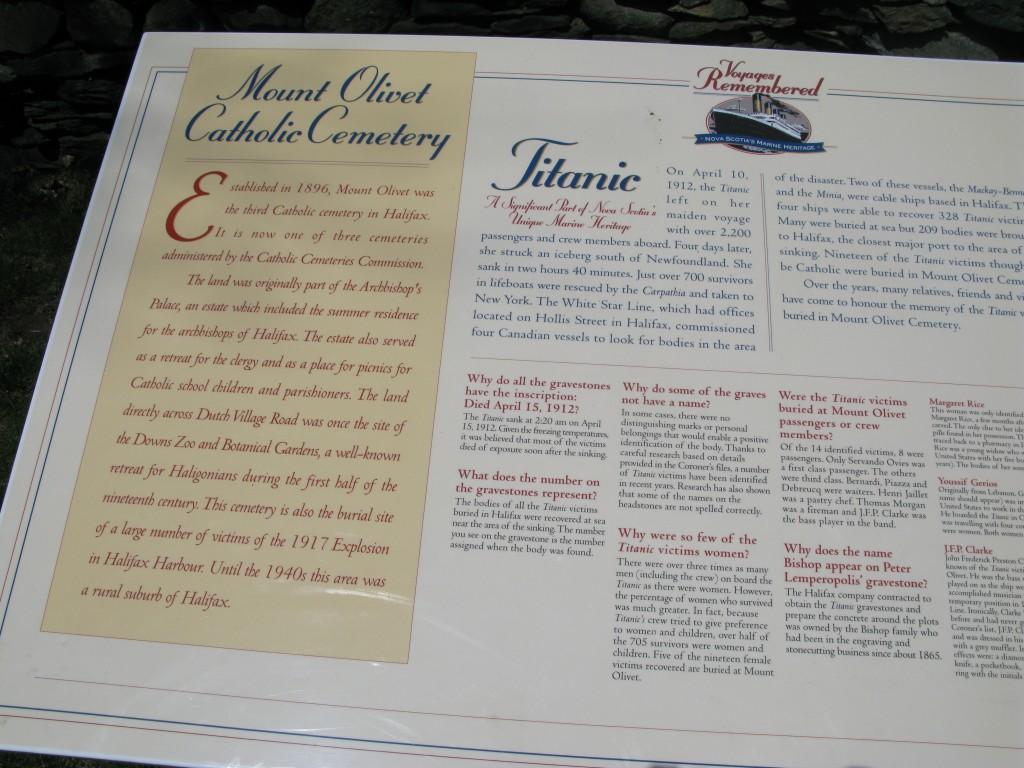 Titanic Third Class Menu A Visit To Mount Olivet Cemetery In Halifax Nova Scotia