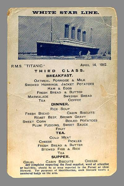 third class breakfast menu the titanic one century later