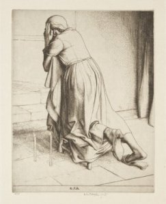 Woman praying on a Kneeler