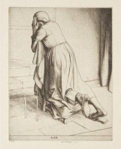 Woman praying on a Kneeler